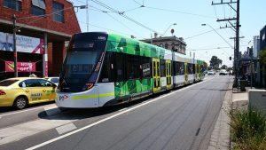 A tram passing through Brunswick East
