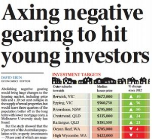 Australian article with Wendy Chamberlain on negative gearing