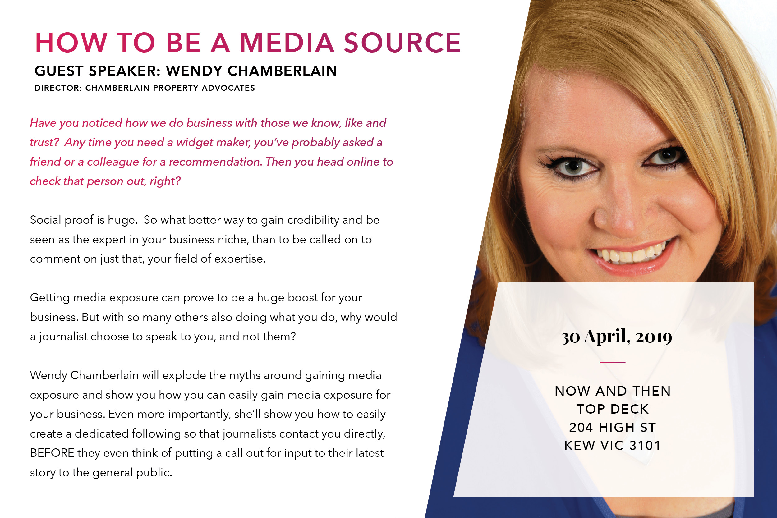 Wendy Chamberlain shares how to be seen as a media source