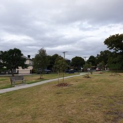 A view from across the park of a typical street in the Melbourne suburb of Preston